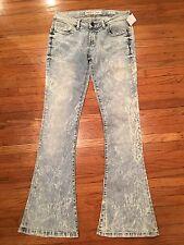 BKE Jeans STELLA Acid Wash Stretch Denim Flare Leg Womens Sz 28W x 32L    (R205)