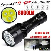 Super Bright 8000Lm 3x XM-L T6 LED 5-Mode 18650 Flashlight Torch Light Lamp NEW