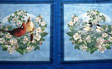 """Cotton Quilt Fabric Hautman Pillow Panels Song Birds by 17""""x 44"""""""