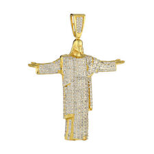 Solid .925 Sterling Silver Charm 14K Gold Finish Iced Out CZ Jesus Men's Pendant