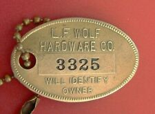 Vintage Charge Coin: WOLF HARDWARE STORE; Mt Clemens MI; Brass Tag; Number 3325