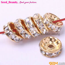 100pcs Yellow Gold Plated Crystal Spacer beads 10mm