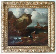 SPLENDIDO DIPINTO ANTICO - PAESAGGIO FLUVIALE - AMBITO DI MARCO RICCI(1676-1730)