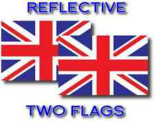2x REFLECTIVE UNITED KINGDOM Flag Decal 3M Stickers BRITISH UNION JACK USA MADE