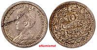 Netherlands Wilhelmina I  Silver 1912 10 Cents   KM# 145