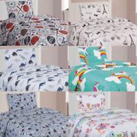 KIDS BED SHEET SET TWIN PRINTED DESIGN MICROFIBER FLAT FITTED SHEET PILLOWCASE