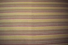 """Striped Yellow Burgundy 100% Flax Linen Fabric 58""""W Upholstery BTY Natural Fiber"""
