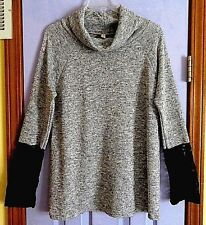 GRAY LACE-SLEEVE COWL NECK TUNIC - LARGE