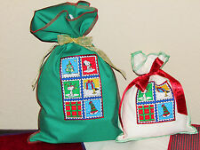 Snoopy Peanuts Woodstock Christmas Fabric Gift Wrap Wrapping Bags 3 Lrge/3 Small