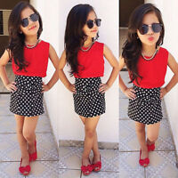 Two-pieces Cotton Polka Dot Skirt Clothes Girls Baby Kids Outfits Sets Summer