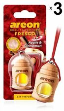 3 x Areon Fresco Apple Cinnamon Car Aroma Perfume Tree Air Freshener Home Office