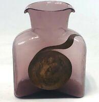 Vintage Handmade Retro Blenko Purple Copper Double Spout Water Pitcher Decanter