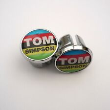 Vintage Style, Tom Simpson, Chrome Racing Bar Plugs, Caps, Repro