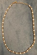 14k Yellow Gold Pearl Necklace Signed EG