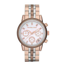 Michael Kors mk5642 Ritz Ladies Chronograph Stainless Steel Rotgold Brown Wristwatch