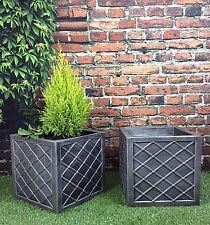 PACK OF 2 Victorian Lattice Square 31cm Garden Planters Pewter / pot tub patio