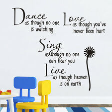 Dance Live Love Sing Words Quote Wall sticker Wallpaper wall decals mural