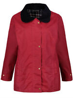 Ulla Popken jacket coat plus size 20/22 24/26 28/30 32/34 36/38 red waxed cotton