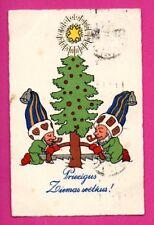 LATVIA LETTLAND CHRISTMAS GNOMES VINTAGE POSTCARD USED 625