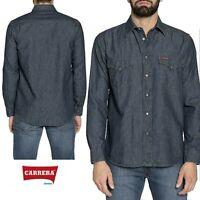 Camicia jeans uomo CARRERA denim leggero blu scuro western con bottoni  art. 205