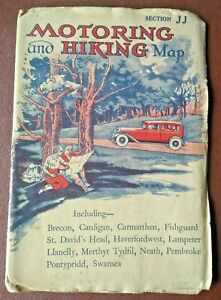 Vintage (undated) Motoring And Hiking Map Section JJ South Western Wales