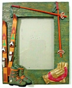 """Skiing Photo Frame Southwest Vibes Resin 3.5"""" x 5"""" Photo Tabletop Hanging 3D"""