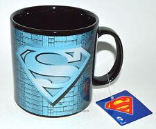 SUPERMAN SHIELD Coffee MUG Tea Cup LARGE 20 oz DC Comics WB Black Blue NEW w TAG