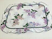 Vtg  Cannon Floral 20x26 Pillowcase Lilacs White Purple Green Ruffled Edge Blend