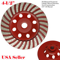 "4.5""  5/8-11 Thread Diamond Grinding CUP Wheel Disc Grinder Concrete 28 Segments"