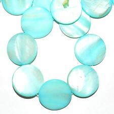 MP1583L Light Blue Mother of Pearl 30mm Flat Round Gemstone Shell Beads 16""