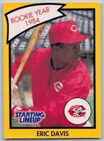 1990  ERIC DAVIS - Kenner Starting Lineup Baseball Yellow Card - CINCINNATI REDS