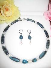 44 cm Halskette Ohrringe Jaspis echte Süßwasserperlen Perlen Schmuck
