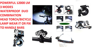T6 COMBO LED Front Bicycle Bike USB Rechargeable Head Light Torch Headlight Lamp