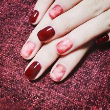False Nails Full Cover Deep Wine Red Dyeing Acrylic Nails Short Nail Art Tips