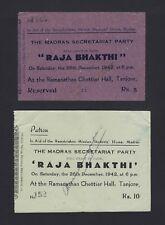 India Ramakrishna Mission Tanjore 1942 tickets for the Tamil play Raja Bhakthi
