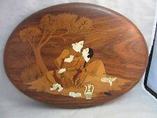 Vtg wood inlaid plaque. Romantic couple in India