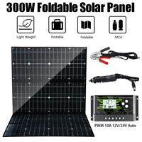300W 18V Foldable Mono Solar Panel USB Battery Charger Camping Controller Kit