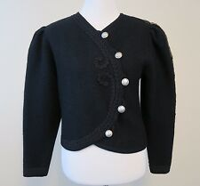 Vtg Pfister Austria Women's Sz 40 M L Black Wool Jacket Cardigan Bolero Buttons
