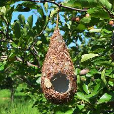 Grass Hand Woven Bird Nest, Natural Bird Hut Canary Finch for Outside Hanging #E