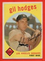 1959 Topps #270 Gil Hodges EX/EX+ Los Angeles Brooklyn Dodgers FREE SHIPPING