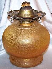 """ANTIQUE AMBER CRACKLE GLASS OVERLAY OIL/KEROSENE LAMP~7 1/8""""TALL~NO CHIMNEY~VG"""