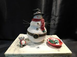 Boyds Bears SNOWMAN Treasure Box BURT BUNDLEUP w/CHILLY MCNIBBLE - 1E - NIB