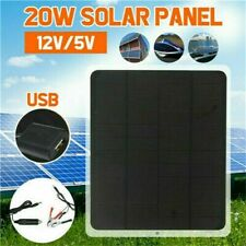 20W Solar Panel Car Charger Outdoor Portable USB Battery Charger Waterproof 12V