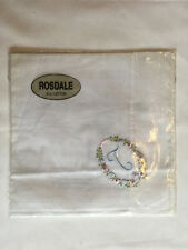 Monogrammed Handkerchief with blue letter T in floral wreath. new in packet