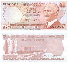 Turkey 20 Lira 1974  P-187a Black Signature Banknotes About Uncirculated aUNC
