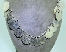 """Vintage 925 Sterling Silver Threepence Pendant Necklace Belly Dancing 23"""""""