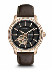 Bulova Black-Rose Dial Stainless Steel Leather Automatic Men's Watch 97A109