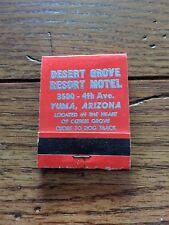 DESERT GROVE RESORT MOTEL Yuma Arizona AZ 1960's Vintage Matchbook