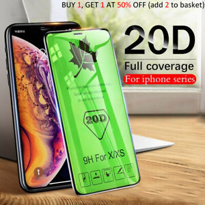 Screen Protector iPhone X,XS,XR,11 Pro MAX 20D Curved FULL COVER TEMPERED GLASS