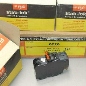 New Genuine FPE Federal Pacific Stab-Lok 2 Pole 20 Amp NC220 Thin Breaker NOS